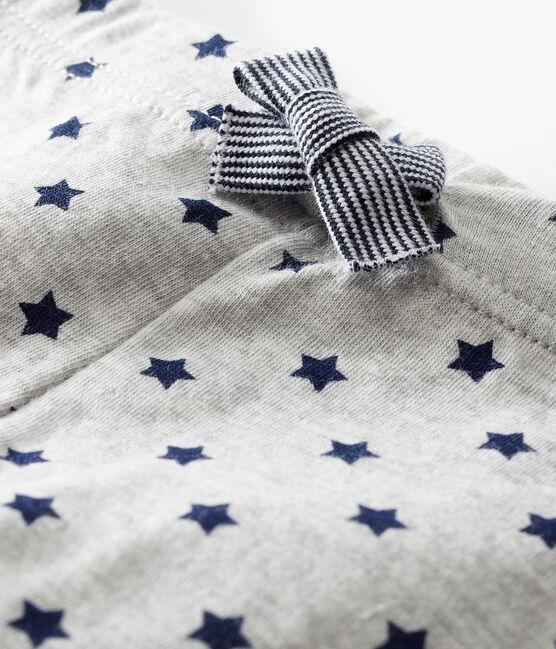Pantalon bébé en tubique imprimé gris Beluga / bleu Smoking