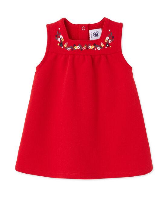 Robe bébé fille en molleton brodé rouge Froufrou