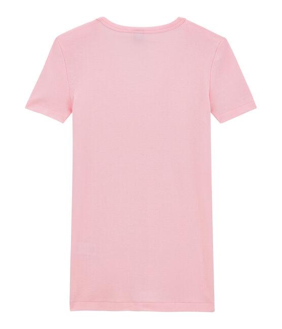 T-shirt femme col V en côte originale rose Babylone