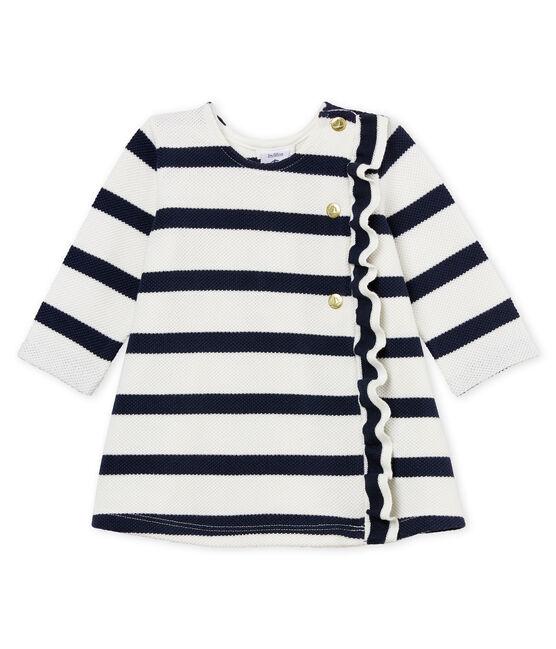 Robe manches longues à rayure marinière bébé fille blanc Marshmallow / bleu Smoking