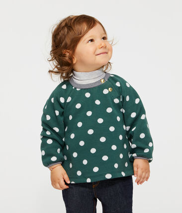 Blouse manches longues bébé fille imprimée vert Sousbois / blanc Marshmallow