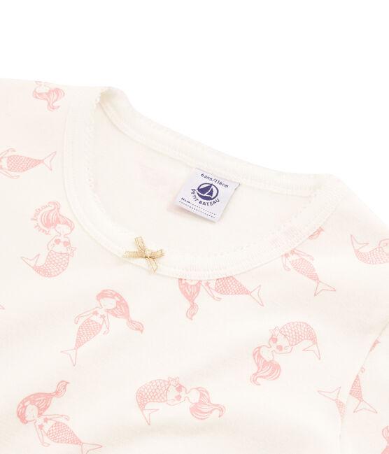 Pyjacourt petite fille coupe très ajustée blanc Marshmallow / rose Rose
