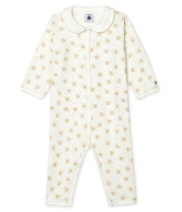 Dors bien sans pieds bébé en côte blanc Marshmallow / jaune Or