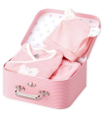 Lot cadeau bébé 3 pièces en côte rose Gretel / blanc Marshmallow
