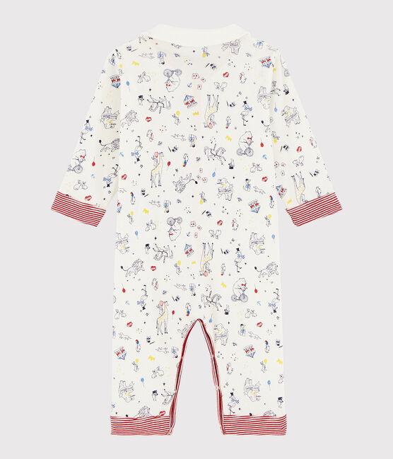 Dors-bien sans pieds bébé garçon en côte blanc Marshmallow / blanc Multico