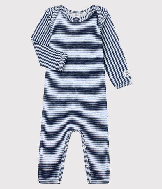 Body jambes longues à rayures bébé en laine et coton bleu Medieval / blanc Marshmallow