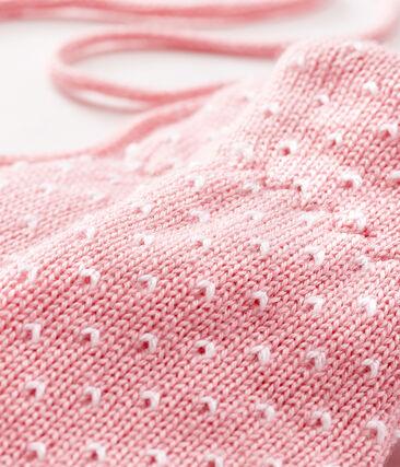 Moufles bébé mixte doublées polaire rose Charme / blanc Marshmallow