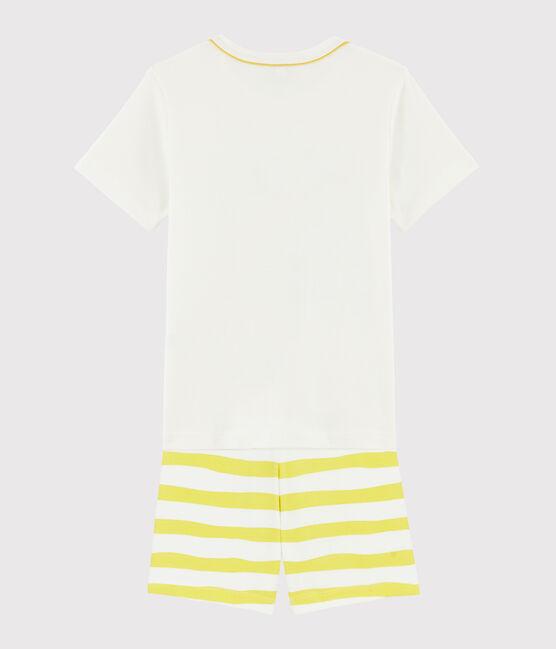 Pyjacourt motif paresseux petit garçon en côte blanc Marshmallow / jaune Ble