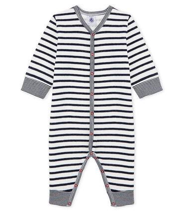 Dors bien sans pieds bébé garçon en tubique blanc Marshmallow / bleu Smoking Cn