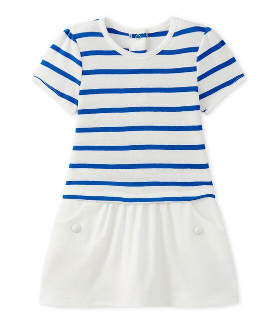 Robe bébé fille manches courtes blanc Marshmallow / bleu Perse