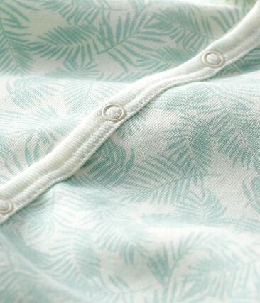 Combicourt bébé garçon en côte blanc Marshmallow / bleu Crystal