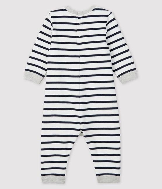 Combinaison longue bébé garçon blanc Marshmallow / bleu Smoking