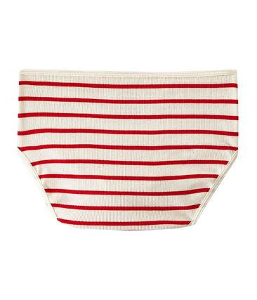 Culotte haute en côte 2x2 beige Coquille / rouge Terkuit