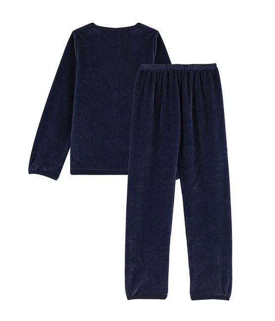 Pyjama petite fille motif nœud en velours bleu Smoking