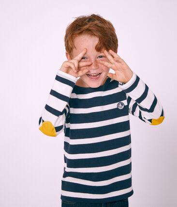 Marinière enfant garçon blanc Marshmallow / bleu Smoking
