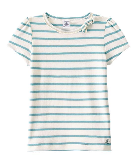 T-shirt fille à rayure marinière blanc Marshmallow / bleu Mimi
