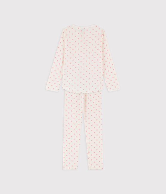 Pyjama petite fille imprimé étoiles en côte blanc Marshmallow / rose Gretel