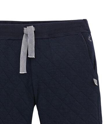 Pantalon garçon en tubique matelassé bleu Smoking