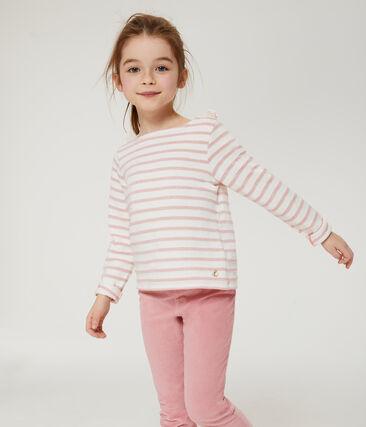 Marinière enfant fille blanc Marshmallow / rose Joli Brillant