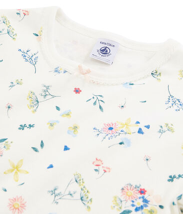 Pyjama petite fille imprimé fleurs en côte blanc Marshmallow / blanc Multico