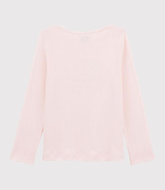 Tee-shirt sérigraphié enfant fille rose Fleur