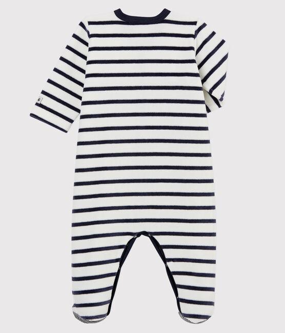 Dors-bien à rayures bébé en velours blanc Marshmallow / bleu Smoking