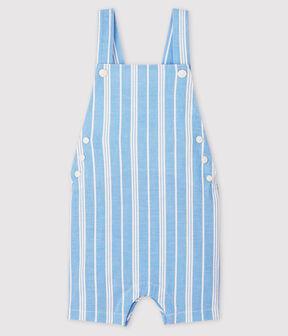 Salopette courte en popeline rayée bébé garçon bleu Jasmin / blanc Marshmallow