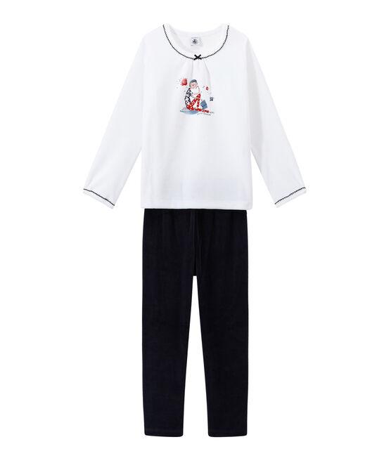 Pyjama fille en velours bleu Smoking / blanc Ecume
