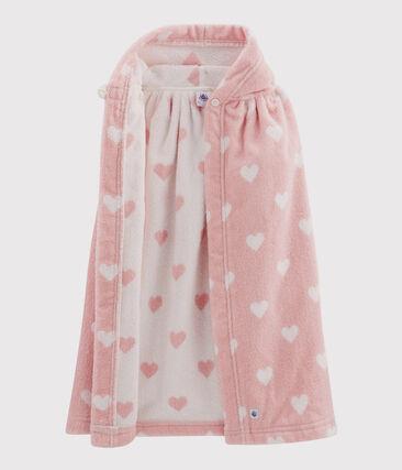 Cape de bain bébé en éponge rose Charme / blanc Marshmallow