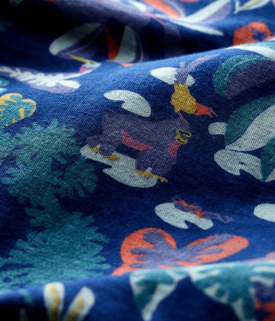 Dors-bien zippé bébé en tubique bleu Medieval / blanc Multico