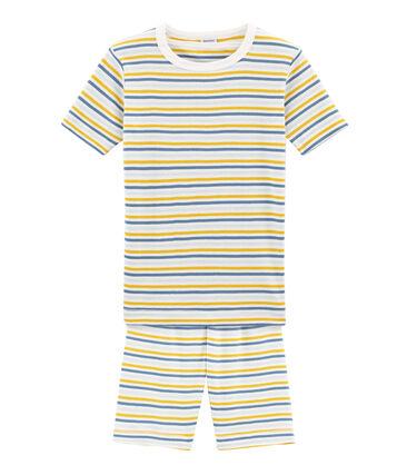 Pyjacourt petit garçon coupe très ajustée en côte blanc Marshmallow / blanc Multico