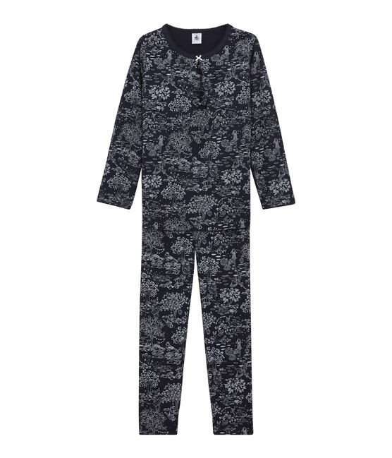 Pyjama petite fille bleu Smoking / blanc Ecume
