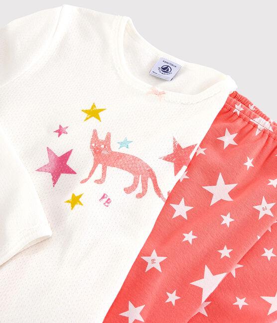 Pyjama étoiles petite fille en coton blanc Marshmallow / rose Peachy