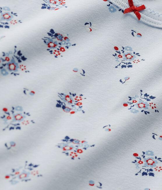 T-shirt fille imprimé en jersey stretch bleu Fraicheur / blanc Multico