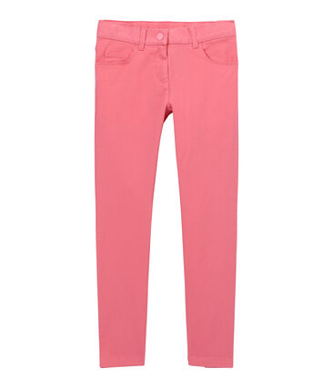 Pantalon fille en jean de couleur rose Petal