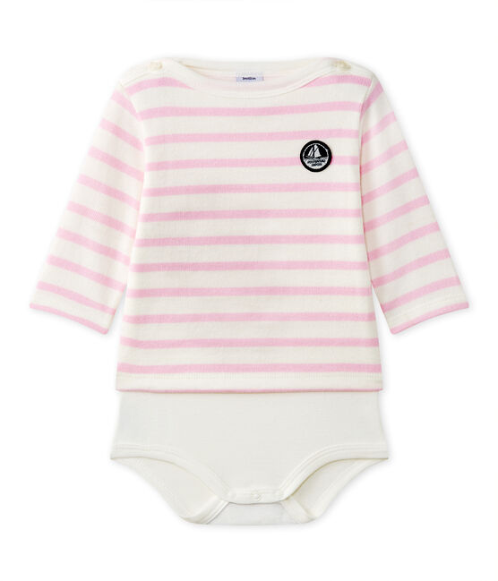 Body marinière bébé manches longues blanc Marshmallow / rose Babylone