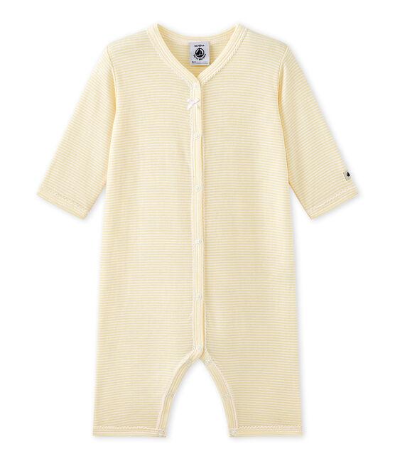 Dors bien sans pieds bébé fille rayé milleraies jaune Pamplemousse / blanc Ecume