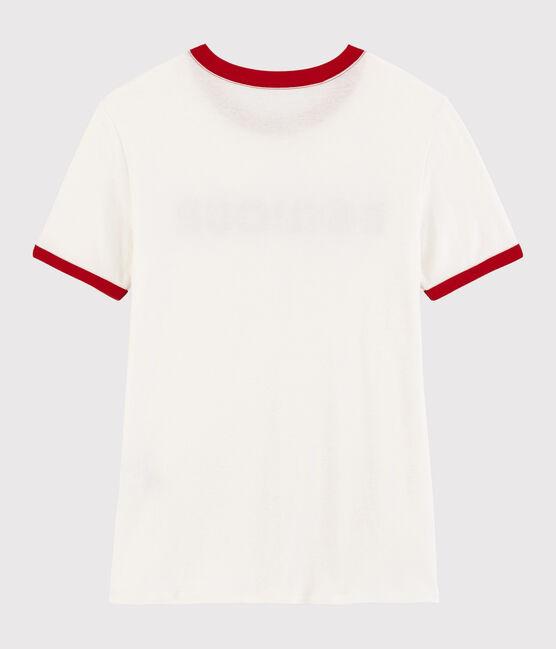 T-shirt imprimé Bonjour Femme blanc Marshmallow / rouge Terkuit