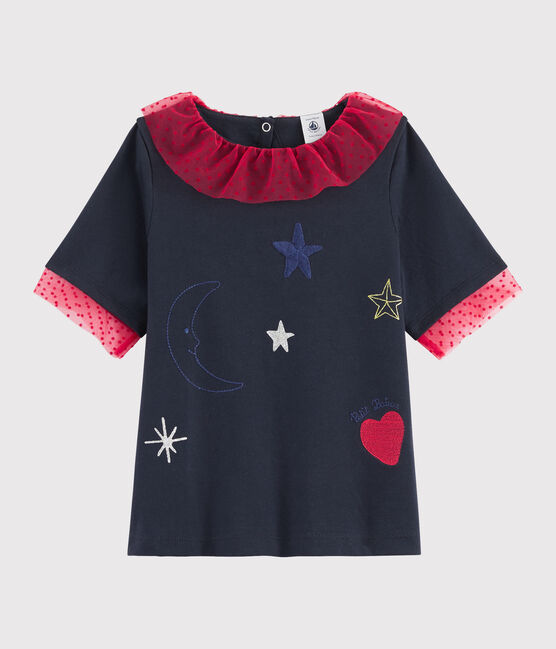 Tee-shirt brodé enfant fille bleu Smoking
