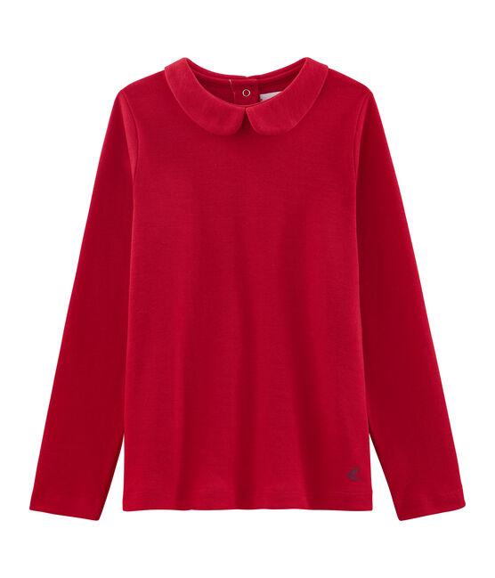 T-shirt fille à col claudine rouge Froufrou