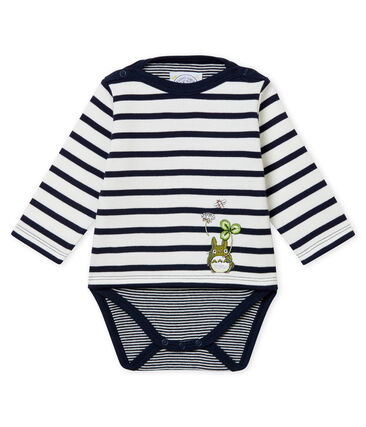 Marinère iconique Totoro bébé garçon blanc Marshmallow / bleu Smoking