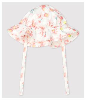 Capeline en popeline imprimé fleuri bébé fille blanc Marshmallow / blanc Multico