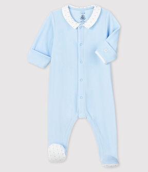 Dors-bien bleu à col bébé garçon en velours bleu Fraicheur