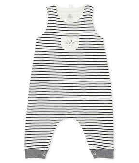 Salopette longue iconique bébé mixte blanc Marshmallow / bleu Smoking