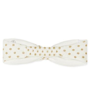 Bandeau cheveux bébé fille blanc Marshmallow / jaune Or
