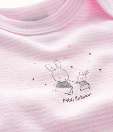 Body manches courtes bébé fille rose Doll / blanc Ecume