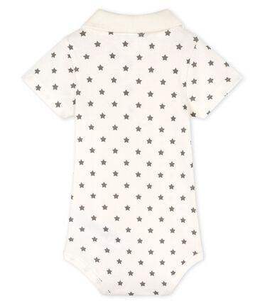 Body col polo imprimé bébé garçon blanc Marshmallow / gris Gris