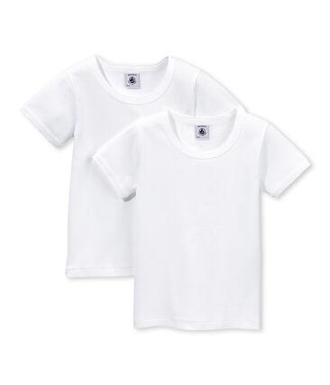Lot de 2 t-shirts manches courtes fille uni / écume