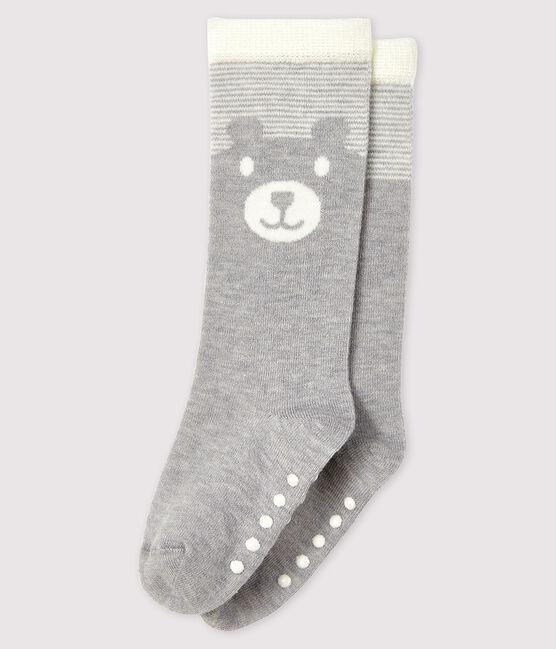 Chaussettes hautes bébé gris Beluga / blanc Marshmallow