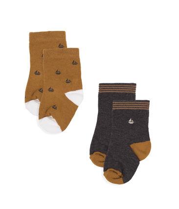 Lot de 2 paires de chaussettes bébé garçon gris City Chine
